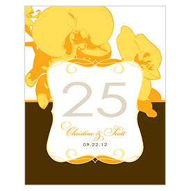 Orchid Glamour Wedding Reception Table Number