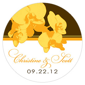Orchid Glamour Small Wedding Favor Sticker