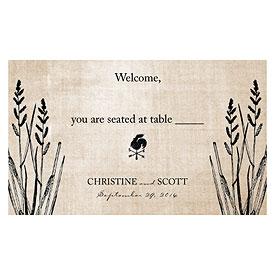 Rustic Country Wedding Escort Table Sign Card