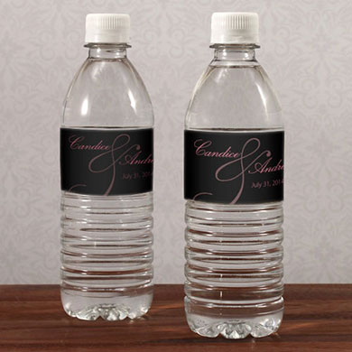 Classic Orchid Wedding Water Bottle Label
