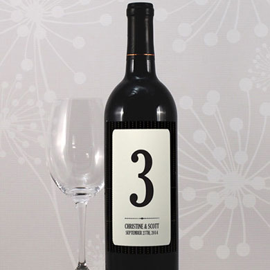 Black Pinstripe Wedding Table Number Wine Label