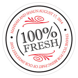 100% Fresh Small Wedding Favor Sticker