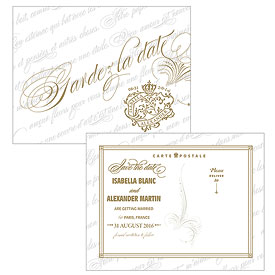 Parisian Love Letter Wedding Save The Date Card