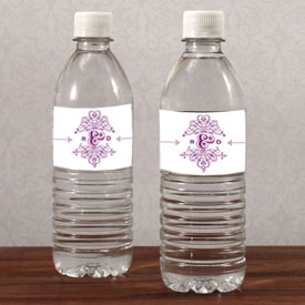 Fanciful Monogram Wedding Water Bottle Label
