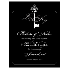 Key Monogram Wedding Signature Wedding Save The Date Card