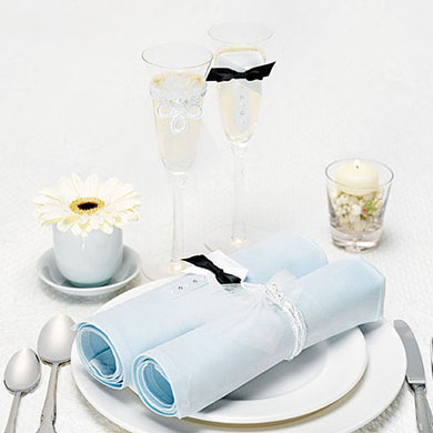 Bride and Groom Wrap accessory with Wedding Reception Toasting Flutes