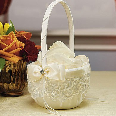 Beverly Clark French Lace Collection Flower Girl Basket