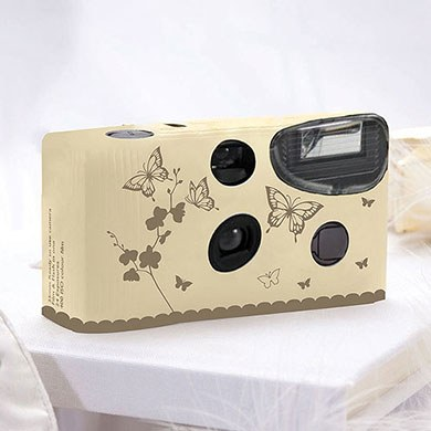 Butterfly Garden Ivory & Gold Disposable Camera