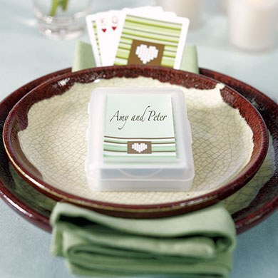 Contemporary Heart Strings Wedding Favor Playing Cards