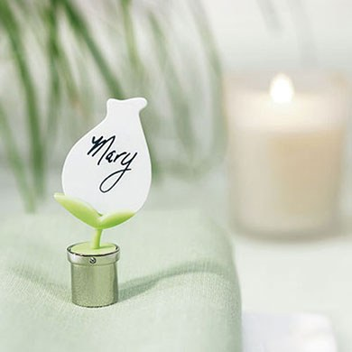 Tulip in Silver Pot Wedding Reception Place Card Holder