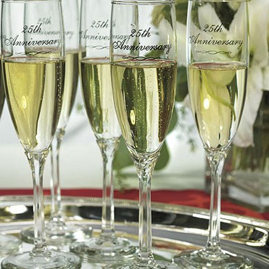 25th Wedding Anniversary Flutes