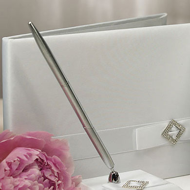 Pure Elegance in Wedding White Traditional Wedding Guest Book
