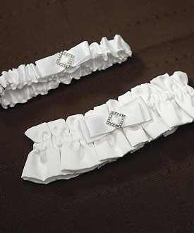 Elegance in White Wedding Garter Set