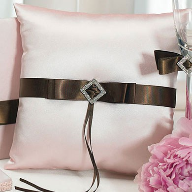 Chocolate and Strawberry Cream Square Wedding Ceremony Ring Pillow