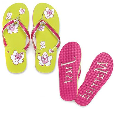 Tropical Orchid Just Married Bridal Accessory Flip Flop Sandals