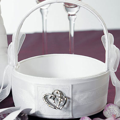 Classic Double Heart Wedding Flower Girl Basket