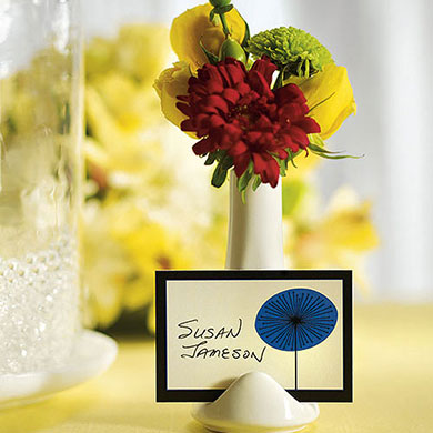 mini vase and wedding reception place card holder