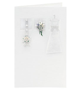 Ivory Dress with a Bouquet Wedding Greeting Card