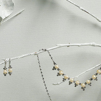Bridal Jewelry in Silver with Pearl Chevron Crystals