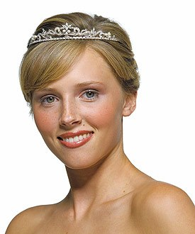 White Pearl Crest Wedding Bridal Tiara