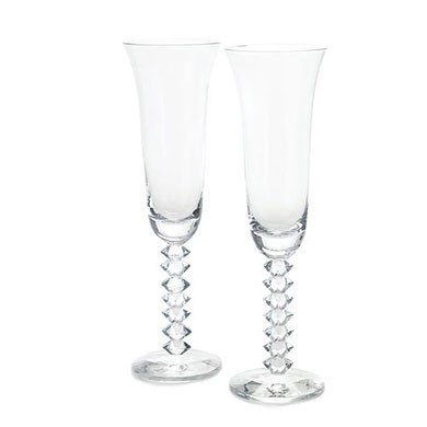 Interlocking Diamond Stem Wedding Reception Champagne Flutes