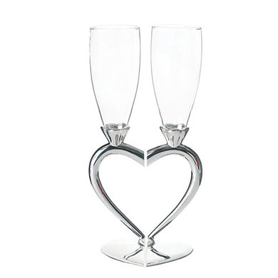 Silver Plated Interlocking Heart Stems with Glass Wedding Flutes