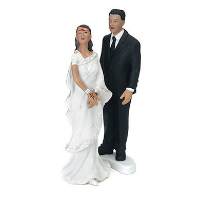 Contemporary Indian Bride and Groom Mix and Match Wedding Cake Toppers