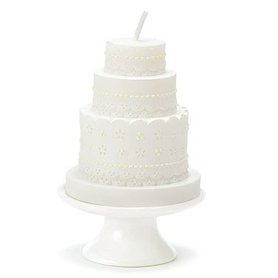 Elegant Lace Wedding Cake Favor Candle
