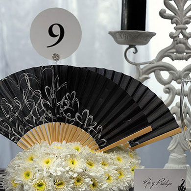 contemporary hearts wedding favor hand fans black