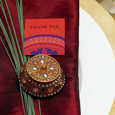 Golden Lac Box Wedding Favor and Place Cardholder with Beads and Mirror