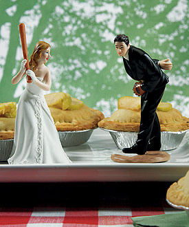 Bride Ready To Hit A Home Run with Groom Pitching Wedding Cake topper