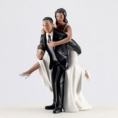 Playful Football Couple Wedding Cake topper
