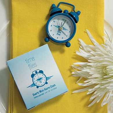 Time Flies Miniature Classic Alarm Clock Wedding Favor in Gift Box