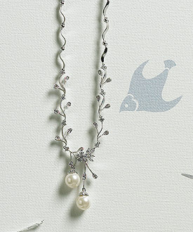 Cubic Zirconia Branches with Pearls Bridal Accessory Jewelry