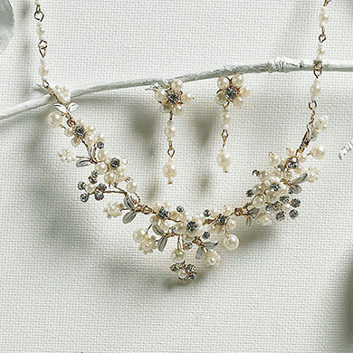Garden Necklace and Earring Bridal Jewelry Accessory Set