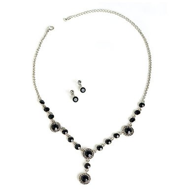 Jet Black Wedding Jewelry Set