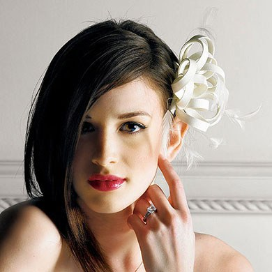 Designer Bridal Hair Accessory with Feathers and Matte Satin in Champagne or Natural White