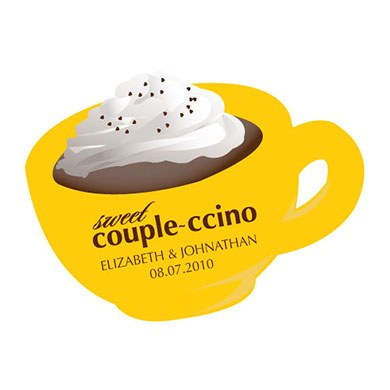Couple-ccino Mocha Scented Wedding Favor Candle Sticker
