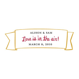 love is in the air small banner wedding favor sticker