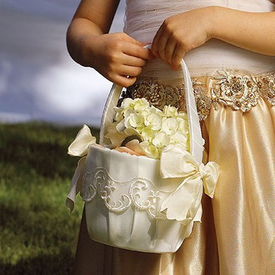 Ceremony Flower Girl Basket with Embroidered Sheer Trim and Bows