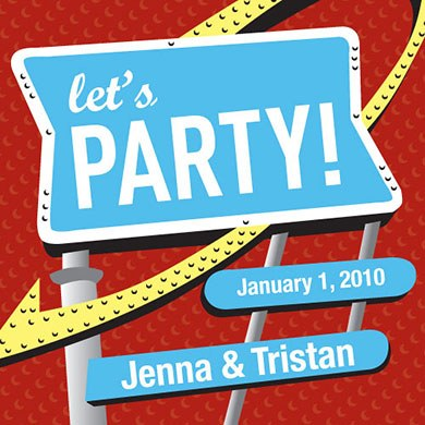 Let's Party Wedding Favor Cards