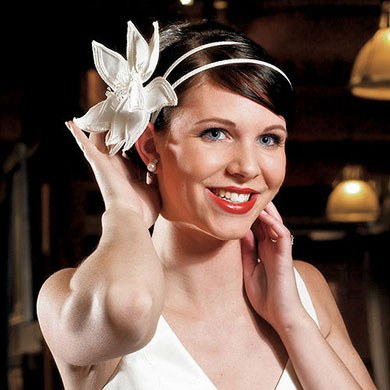 White Satin Wrapped Bridal Headband Wedding Hair Accessory