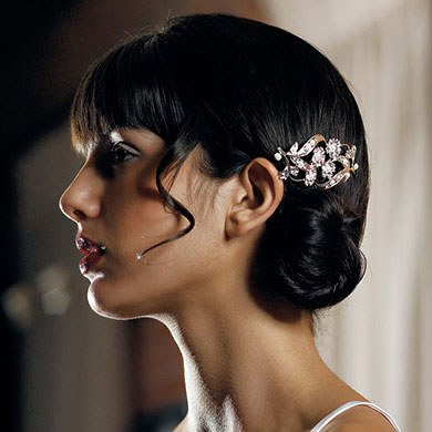 Silver Colored Jewel Bridal Hair Accessory Comb with Pearls