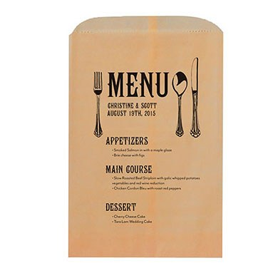 Modern Utensil Menu Printed Flat Pocket Goodie Bag
