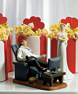 Couch Potato Groom Wedding Cake Topper