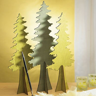 Wooden Die-cut Evergreen Trees Wedding Reception Set of 2 Assorted Decoration