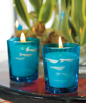 Carved Glass Fish Wedding Tea Light Candle Holder Favor