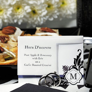 Silver Rings Wedding Place Card Holders