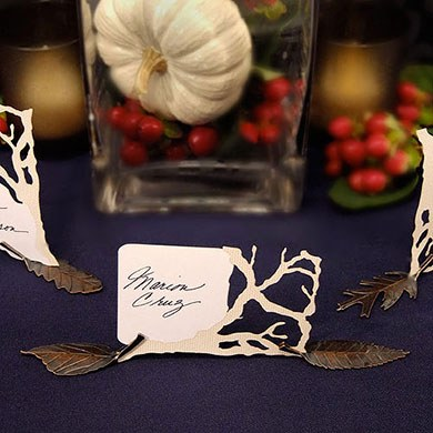 leaf shaped wedding place card holders