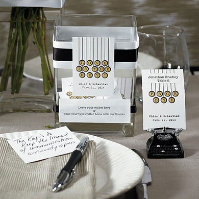 Typewriter wedding place card holder